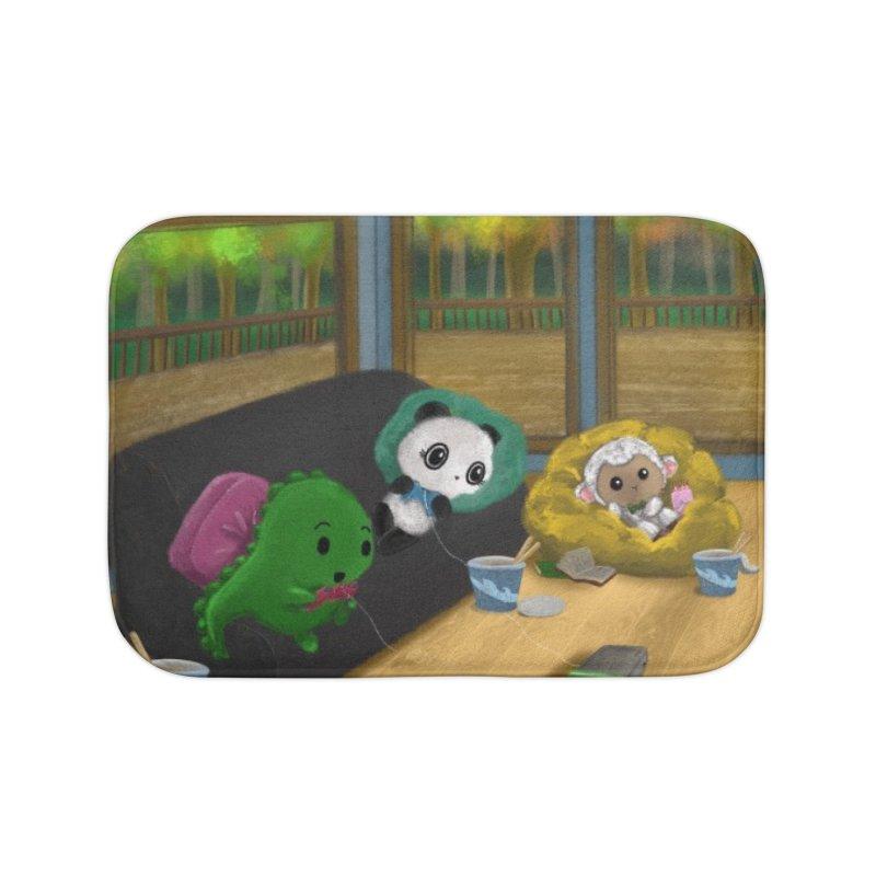 Dino, Panda, and Lambie Gamers Home Bath Mat by Dino & Panda Artist Shop