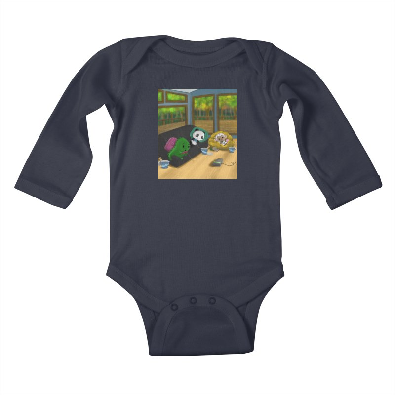 Dino, Panda, and Lambie Gamers Kids Baby Longsleeve Bodysuit by Dino & Panda Artist Shop