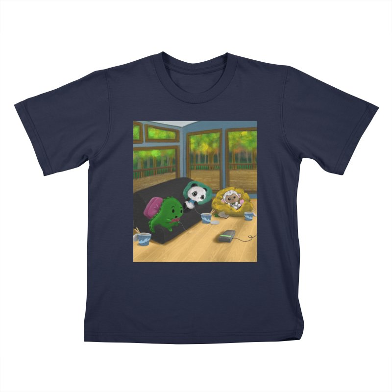 Dino, Panda, and Lambie Gamers Kids T-Shirt by Dino & Panda Artist Shop