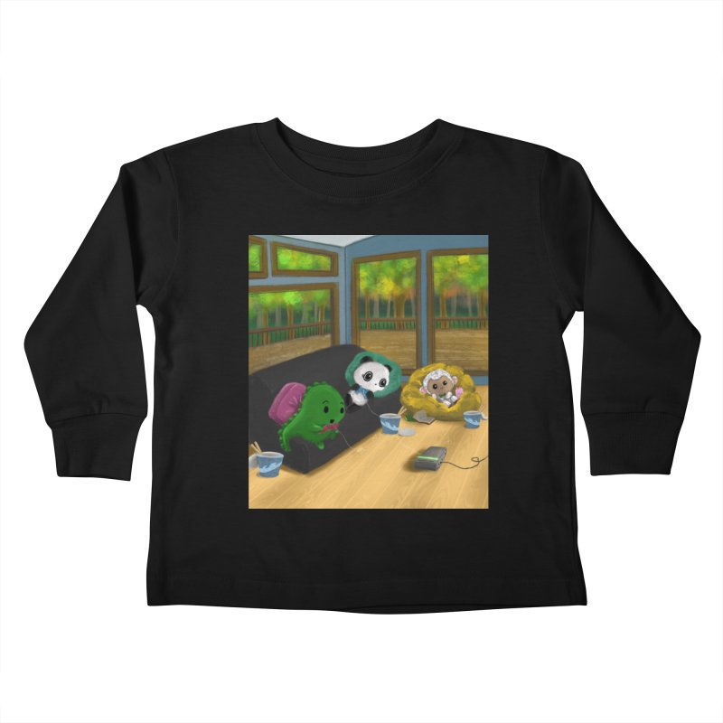 Dino, Panda, and Lambie Gamers Kids Toddler Longsleeve T-Shirt by Dino & Panda Artist Shop