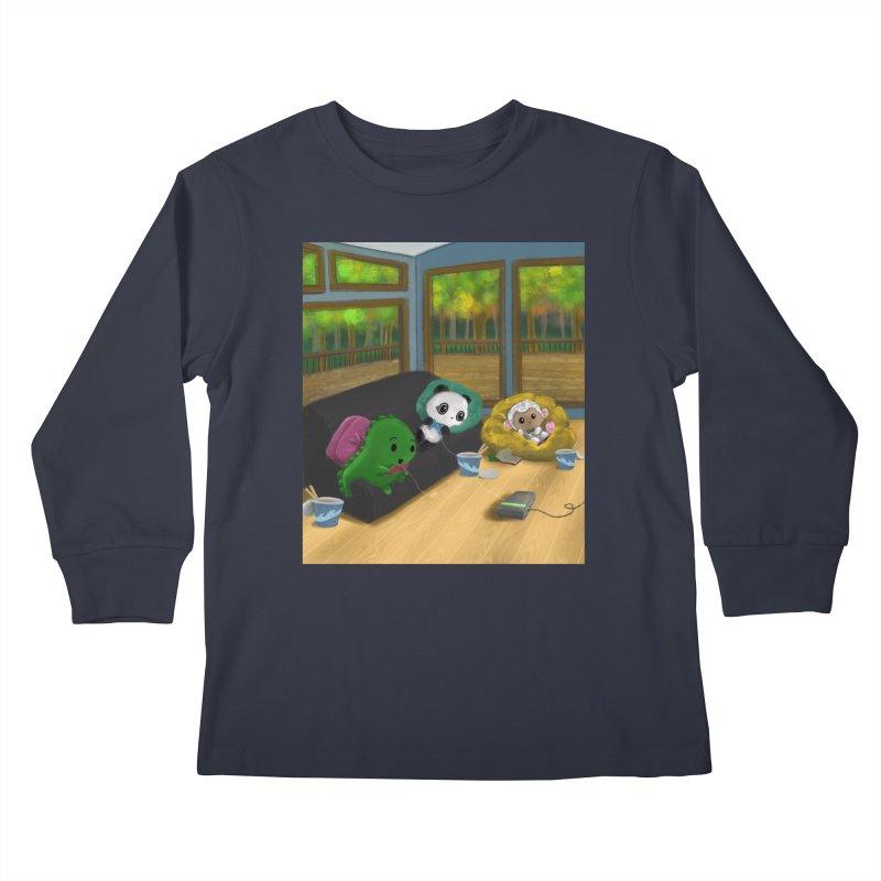 Dino, Panda, and Lambie Gamers Kids Longsleeve T-Shirt by Dino & Panda Artist Shop