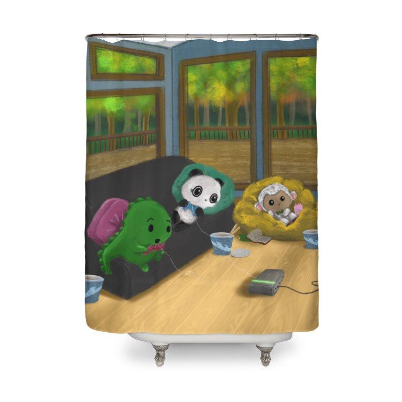 Dino, Panda, and Lambie Gamers Home Shower Curtain by Dino & Panda Artist Shop