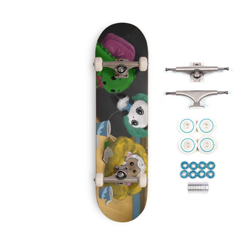 Dino, Panda, and Lambie Gamers Accessories Skateboard by Dino & Panda Artist Shop