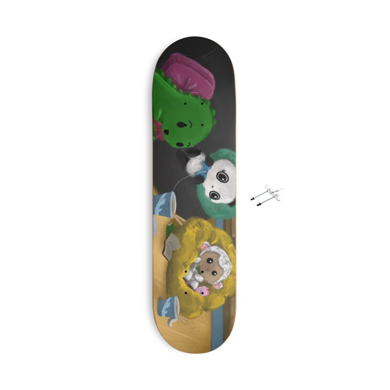 Dino, Panda, and Lambie Gamers Accessories Skateboard by Dino & Panda Artist Shop