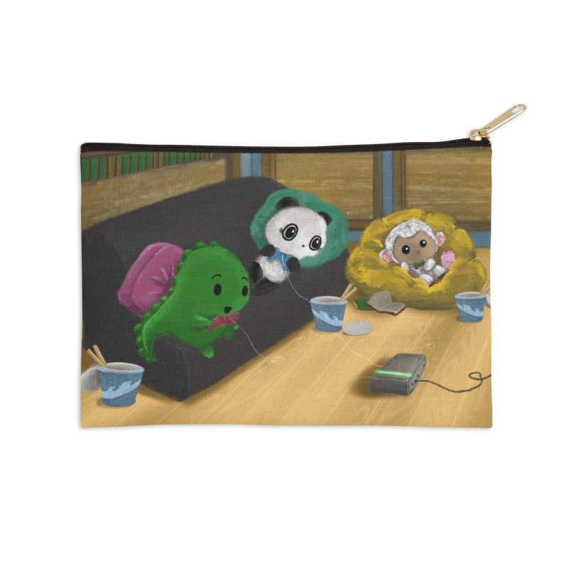Dino, Panda, and Lambie Gamers Accessories Zip Pouch by Dino & Panda Artist Shop