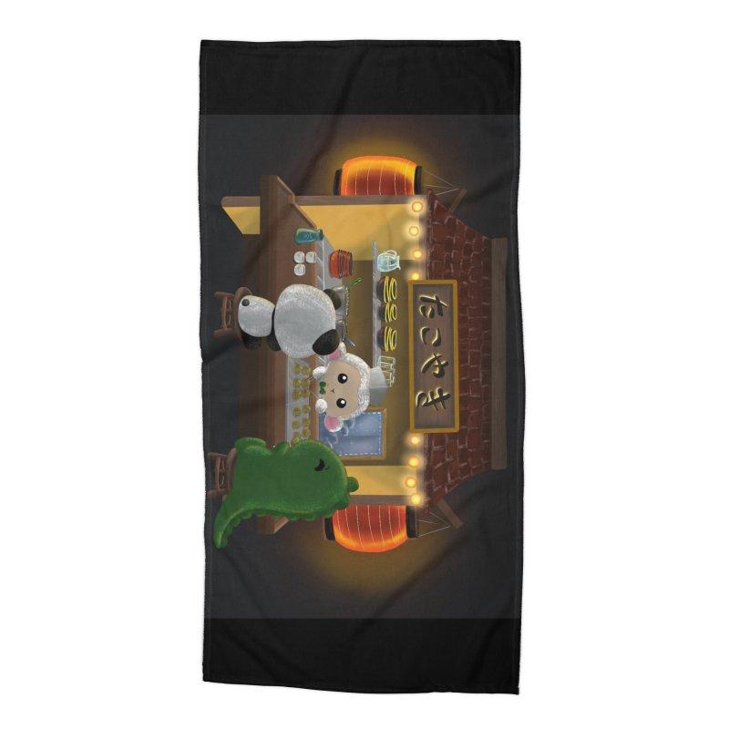 Lambie's Takoyaki Stand Accessories Beach Towel by Dino & Panda Artist Shop