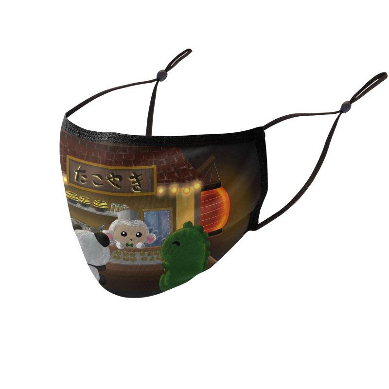 Lambie's Takoyaki Stand Accessories Face Mask by Dino & Panda Artist Shop