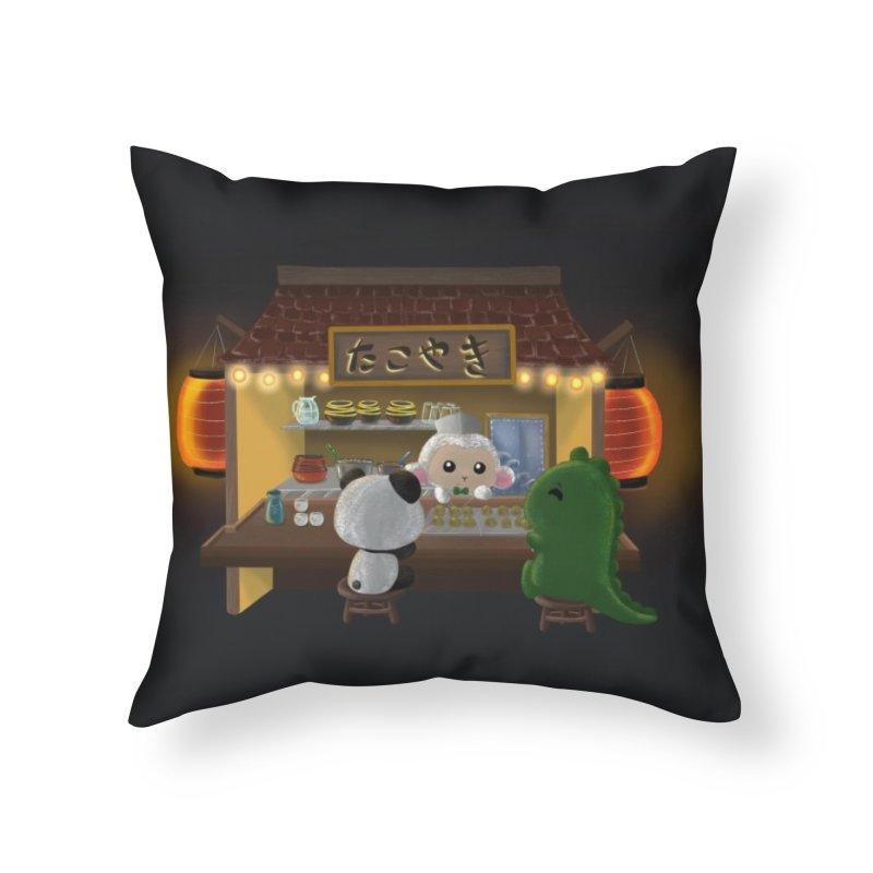 Lambie's Takoyaki Stand Home Throw Pillow by Dino & Panda Artist Shop