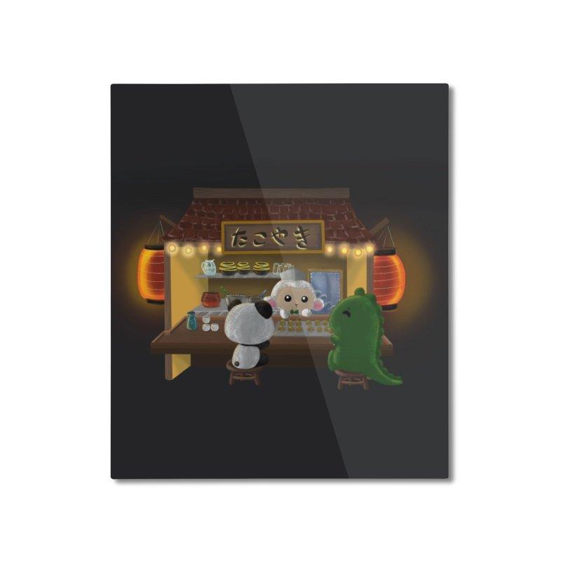 Lambie's Takoyaki Stand Home Mounted Aluminum Print by Dino & Panda Artist Shop
