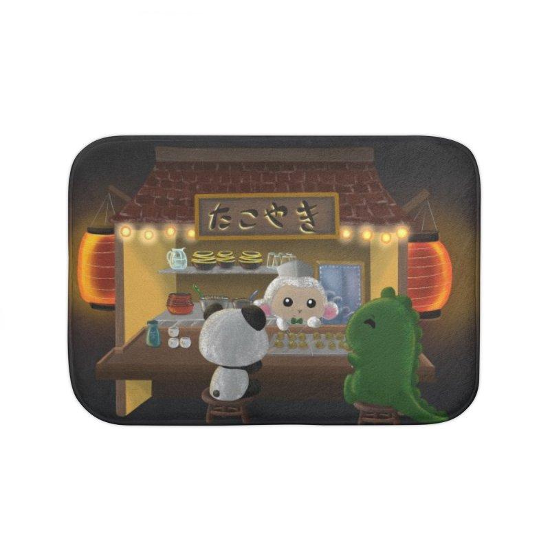 Lambie's Takoyaki Stand Home Bath Mat by Dino & Panda Artist Shop