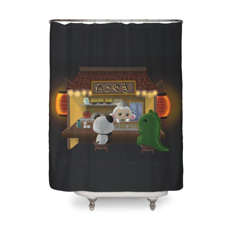 Lambie's Takoyaki Stand Home Shower Curtain by Dino & Panda Artist Shop