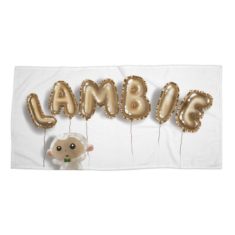 Lambie's Metallic Balloons Accessories Beach Towel by Dino & Panda Artist Shop