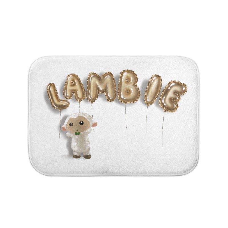 Lambie's Metallic Balloons Home Bath Mat by Dino & Panda Artist Shop