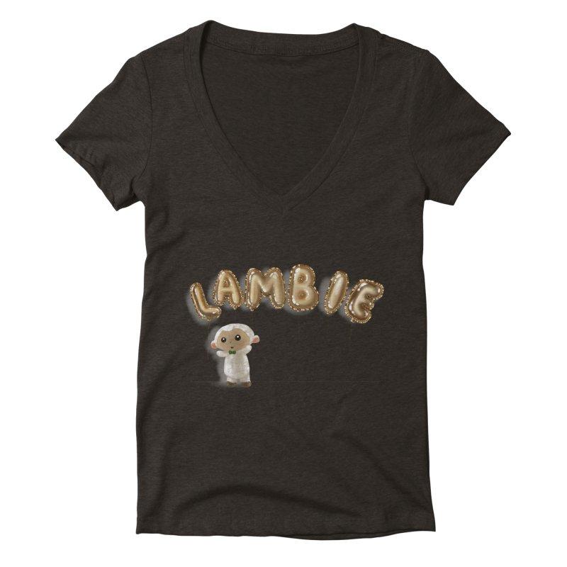 Lambie's Metallic Balloons Women's V-Neck by Dino & Panda Artist Shop