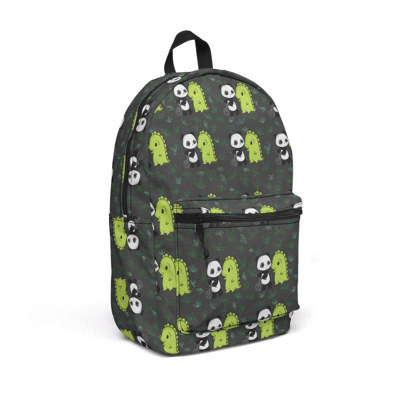 Dino & Panda's Bike Ride (dark gray pattern) Accessories Bag by Dino & Panda Artist Shop