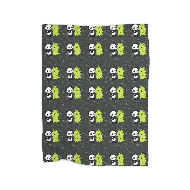 Dino & Panda's Bike Ride (dark gray pattern) Home Blanket by Dino & Panda Artist Shop
