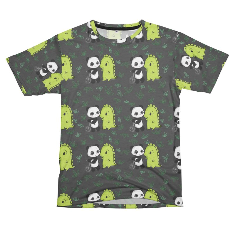 Dino & Panda's Bike Ride (dark gray pattern) Men's Cut & Sew by Dino & Panda Artist Shop