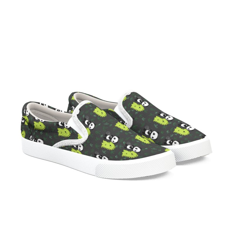 Dino & Panda's Bike Ride (dark gray pattern) Men's Shoes by Dino & Panda Artist Shop