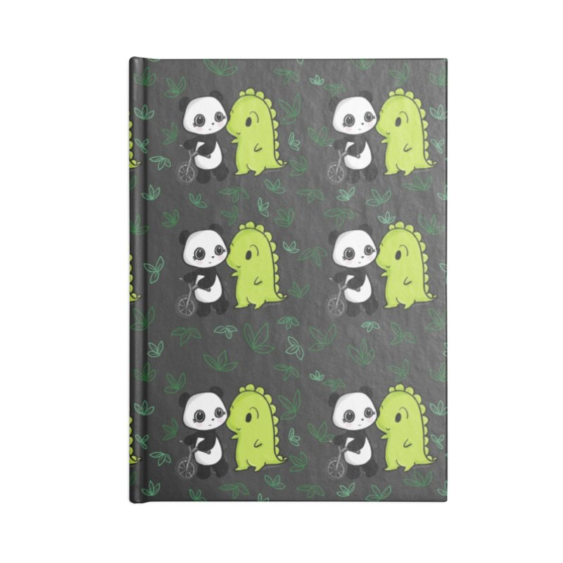 Dino & Panda's Bike Ride (dark gray pattern) Accessories Notebook by Dino & Panda Artist Shop