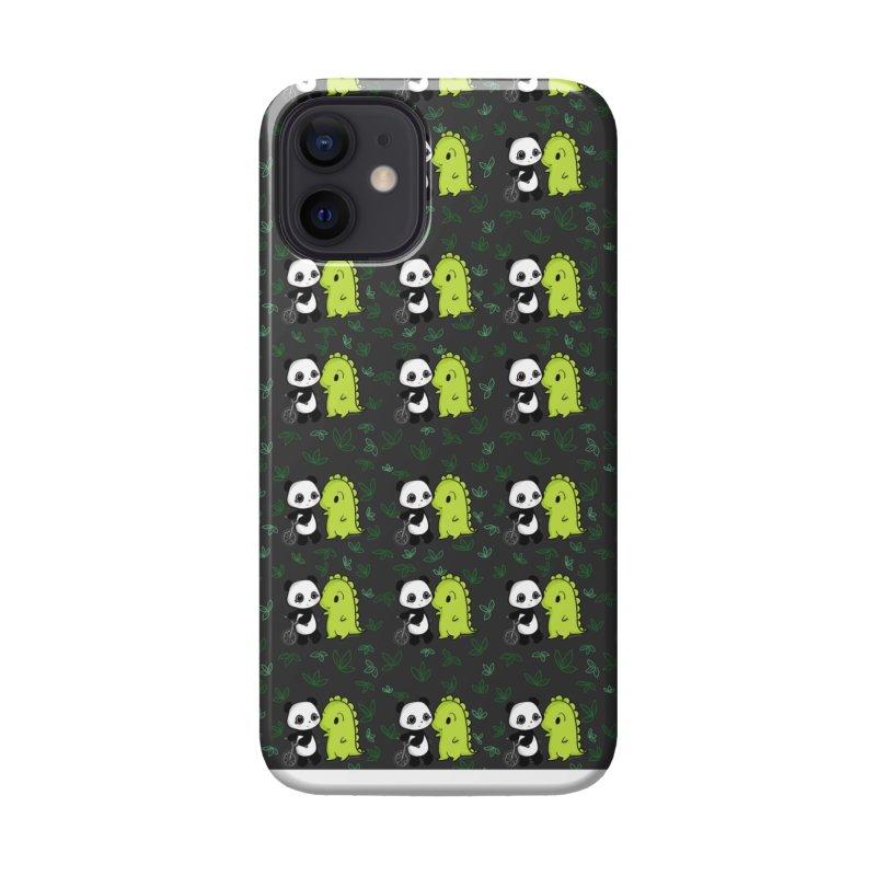 Dino & Panda's Bike Ride (dark gray pattern) Accessories Phone Case by Dino & Panda Artist Shop