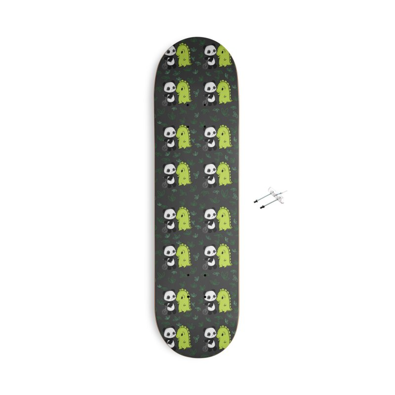 Dino & Panda's Bike Ride (dark gray pattern) Accessories Skateboard by Dino & Panda Artist Shop