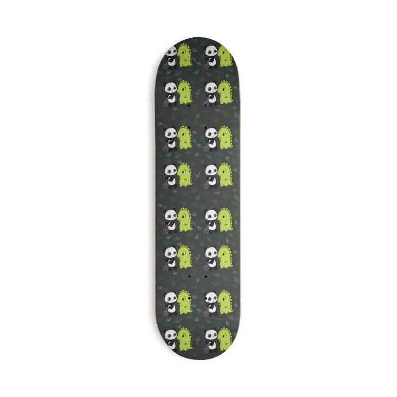 Dino & Panda's Bike Ride (dark gray pattern) Accessories Skateboard by Dino & Panda Artist Shop