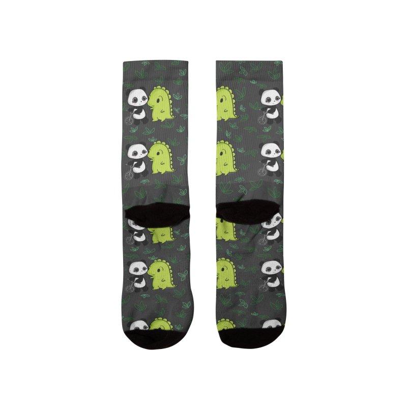 Dino & Panda's Bike Ride (dark gray pattern) Women's Socks by Dino & Panda Artist Shop