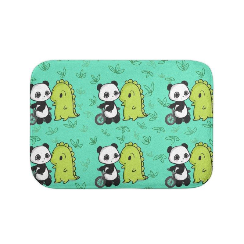 Dino & Panda's Bike Ride (Teal Pattern) Home Bath Mat by Dino & Panda Artist Shop