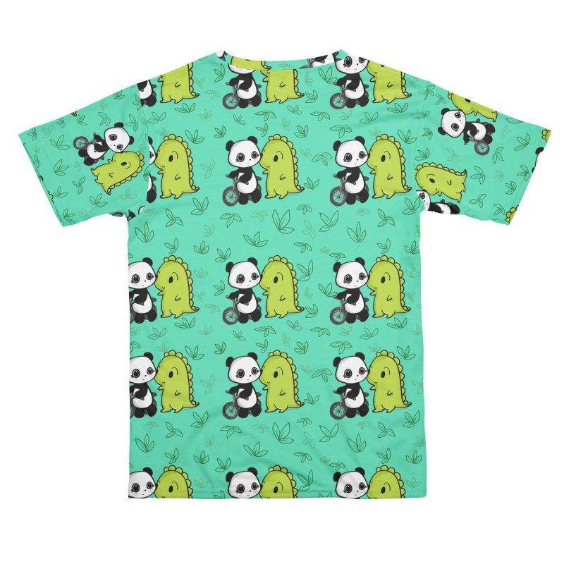 Dino & Panda's Bike Ride (Teal Pattern) Men's Cut & Sew by Dino & Panda Artist Shop