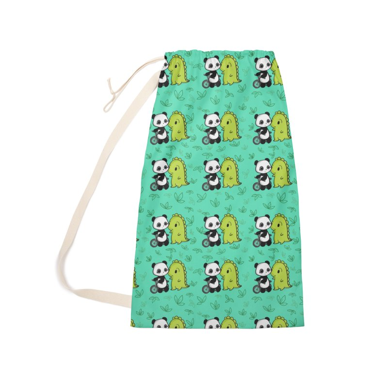 Dino & Panda's Bike Ride (Teal Pattern) Accessories Bag by Dino & Panda Artist Shop