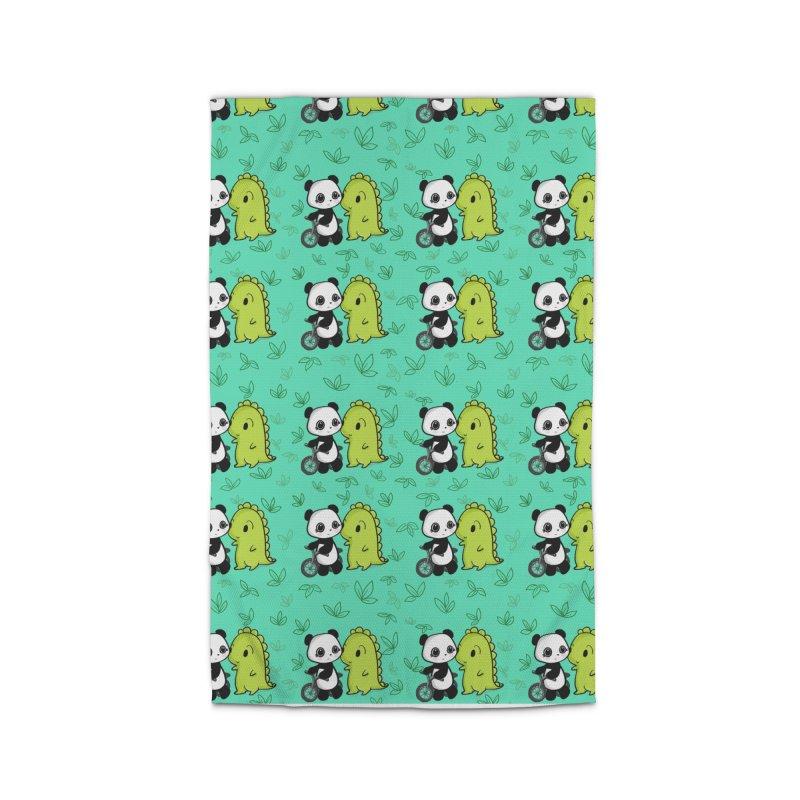 Dino & Panda's Bike Ride (Teal Pattern) Home Rug by Dino & Panda Artist Shop