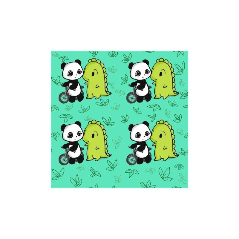 Dino & Panda's Bike Ride (Teal Pattern) Accessories Notebook by Dino & Panda Artist Shop