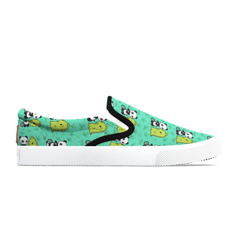 Dino & Panda's Bike Ride (Teal Pattern) Men's Shoes by Dino & Panda Artist Shop