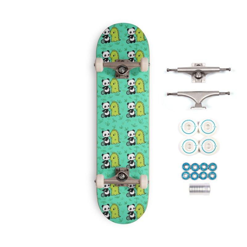 Dino & Panda's Bike Ride (Teal Pattern) Accessories Skateboard by Dino & Panda Artist Shop