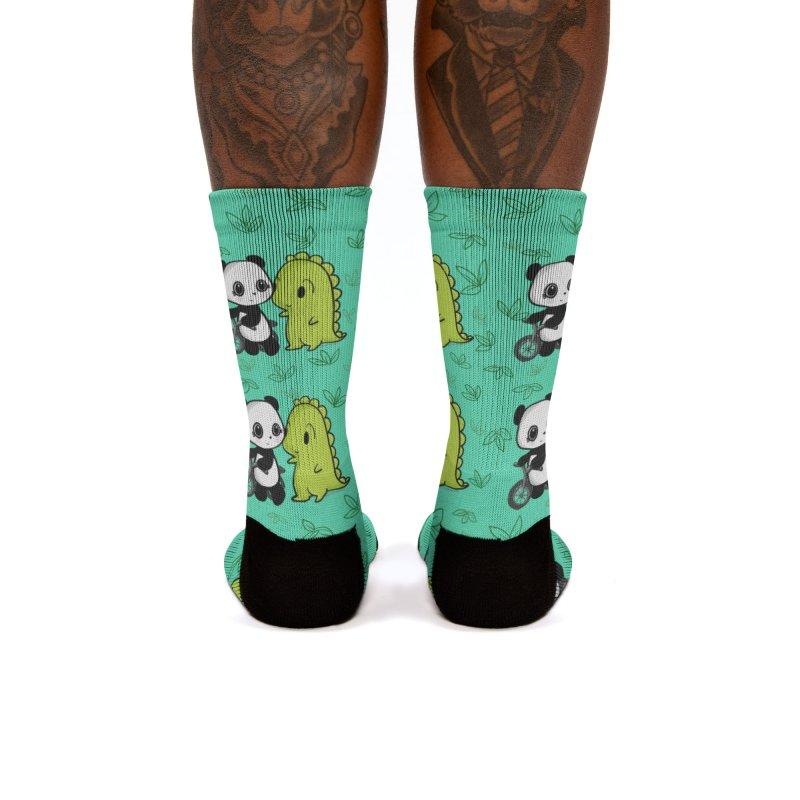 Dino & Panda's Bike Ride (Teal Pattern) Women's Socks by Dino & Panda Artist Shop