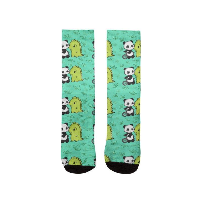 Dino & Panda's Bike Ride (Teal Pattern) Men's Socks by Dino & Panda Artist Shop
