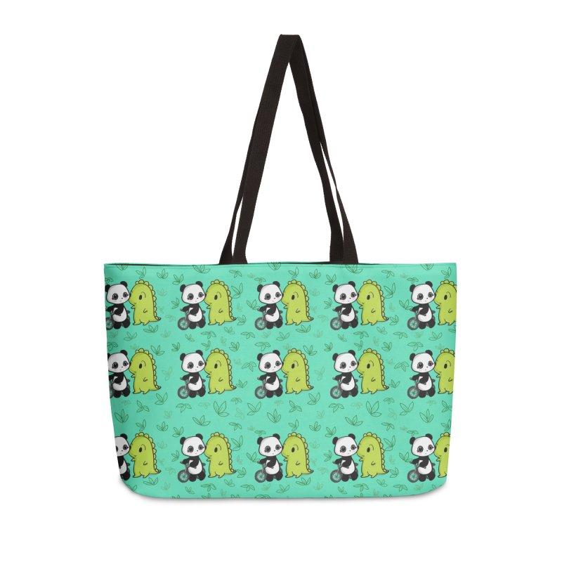 Dino & Panda's Bike Ride (Teal Pattern) Accessories Bag by Dino & Panda Artist Shop