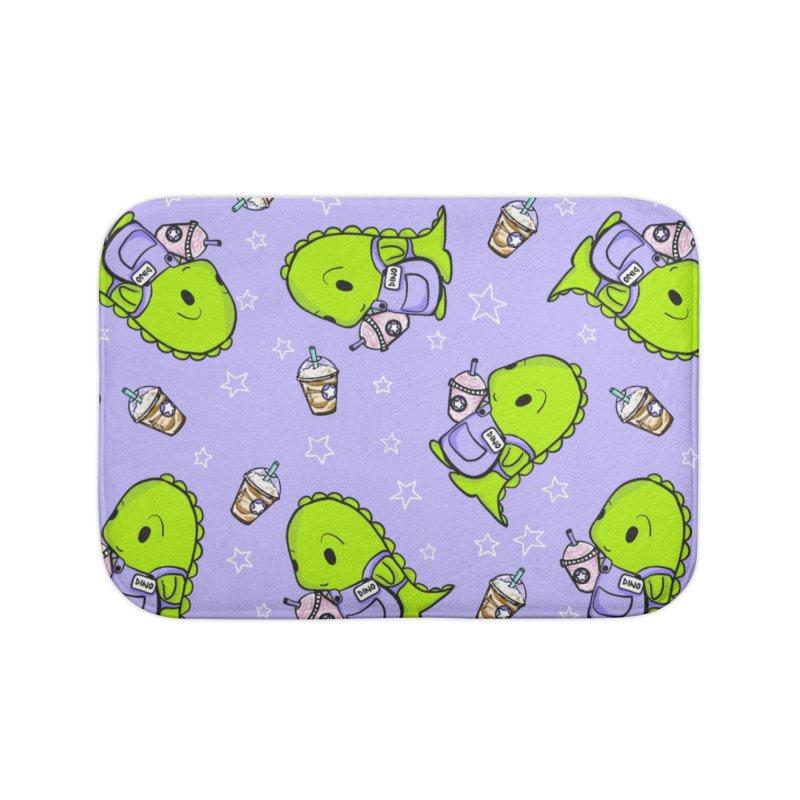 Barista Dino - Seamless Pattern Home Bath Mat by Dino & Panda Artist Shop