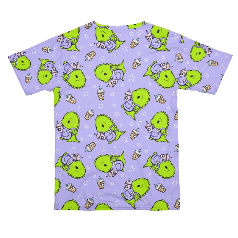 Barista Dino - Seamless Pattern Men's Cut & Sew by Dino & Panda Artist Shop