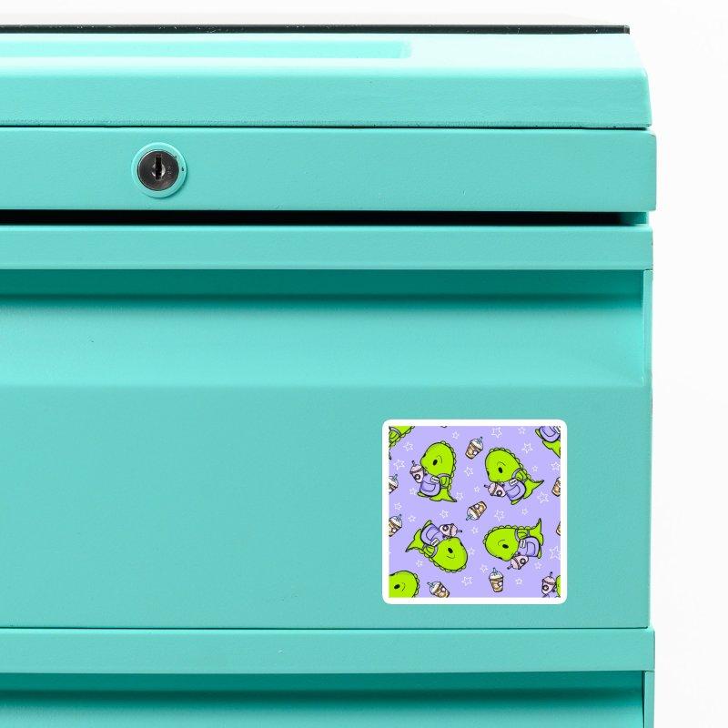 Barista Dino - Seamless Pattern Accessories Magnet by Dino & Panda Artist Shop