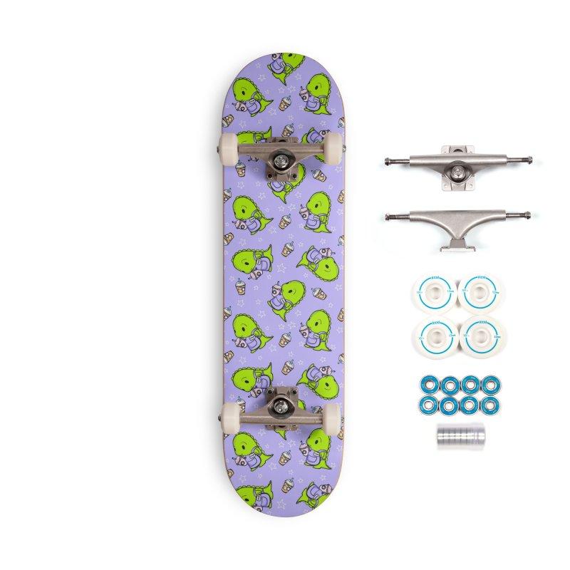 Barista Dino - Seamless Pattern Accessories Skateboard by Dino & Panda Artist Shop