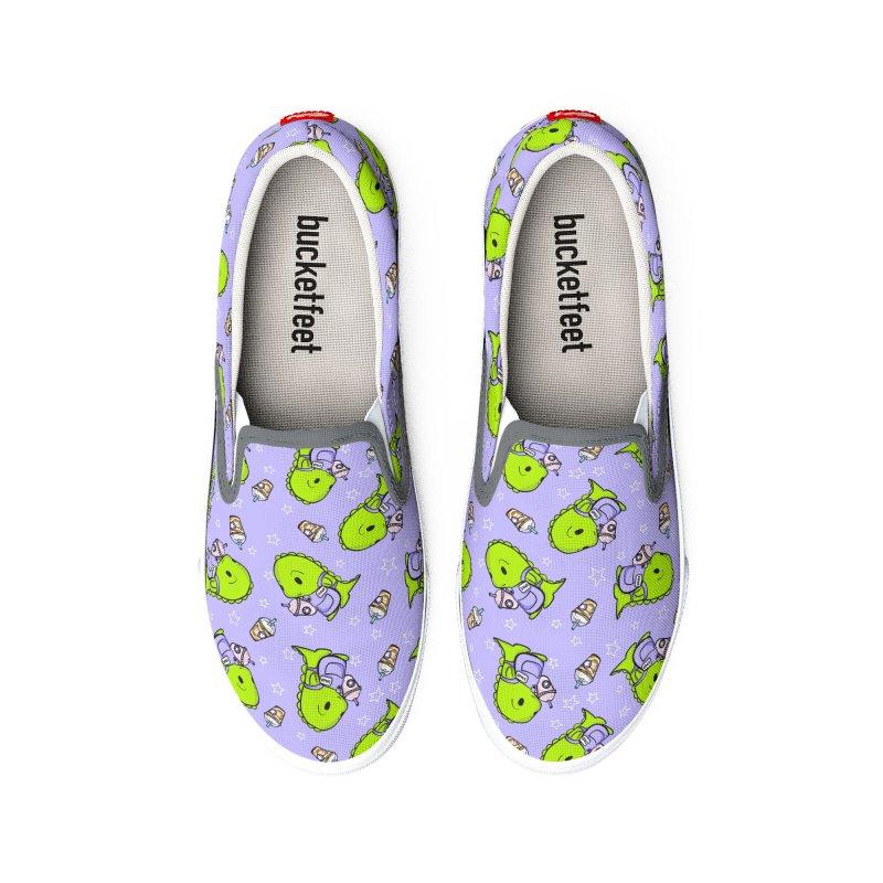 Barista Dino - Seamless Pattern Men's Shoes by Dino & Panda Artist Shop