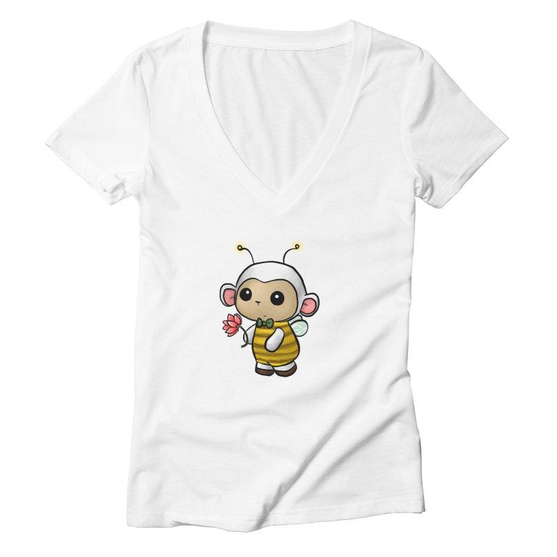 PositiviBee Lambie Women's V-Neck by Dino & Panda Artist Shop