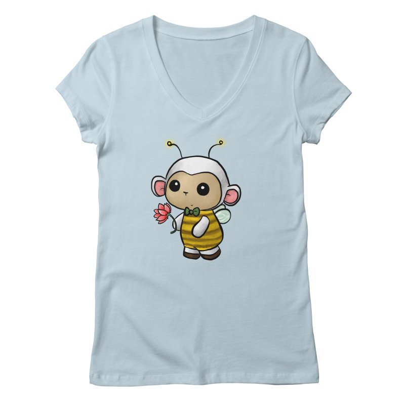 PositiviBee Lambie Women's V-Neck by Dino & Panda Artist Shop