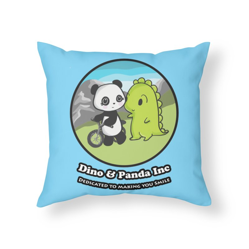 Dino & Panda's Bike Ride Home Throw Pillow by Dino & Panda Inc Artist Shop