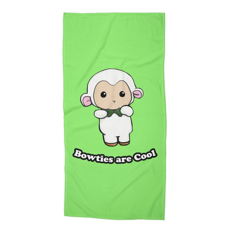 Lambie's Bowtie Accessories Beach Towel by Dino & Panda Inc Artist Shop