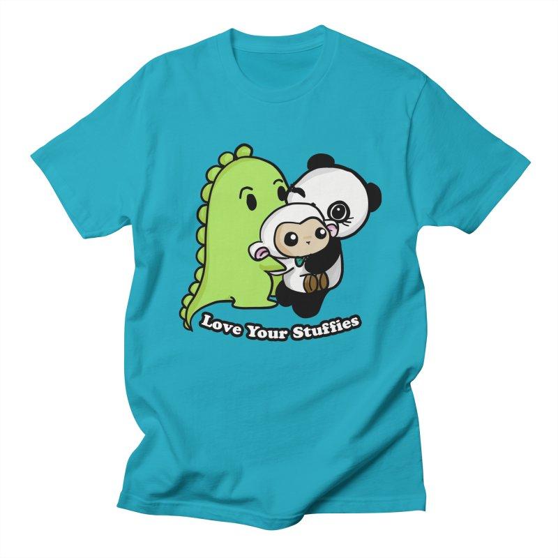 Love Your Stuffies in Men's Regular T-Shirt Cyan by Dino & Panda Inc Artist Shop