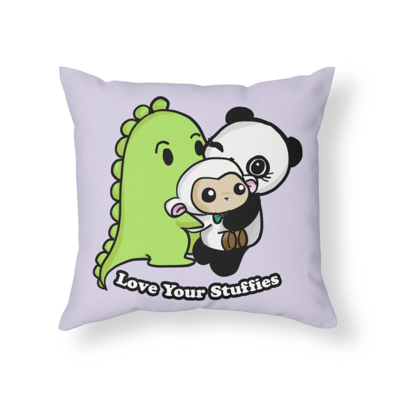 Love Your Stuffies Home Throw Pillow by Dino & Panda Inc Artist Shop