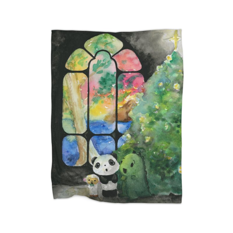 Christmas Carols with Dino & Panda  in Fleece Blanket Blanket by Dino & Panda Inc Artist Shop