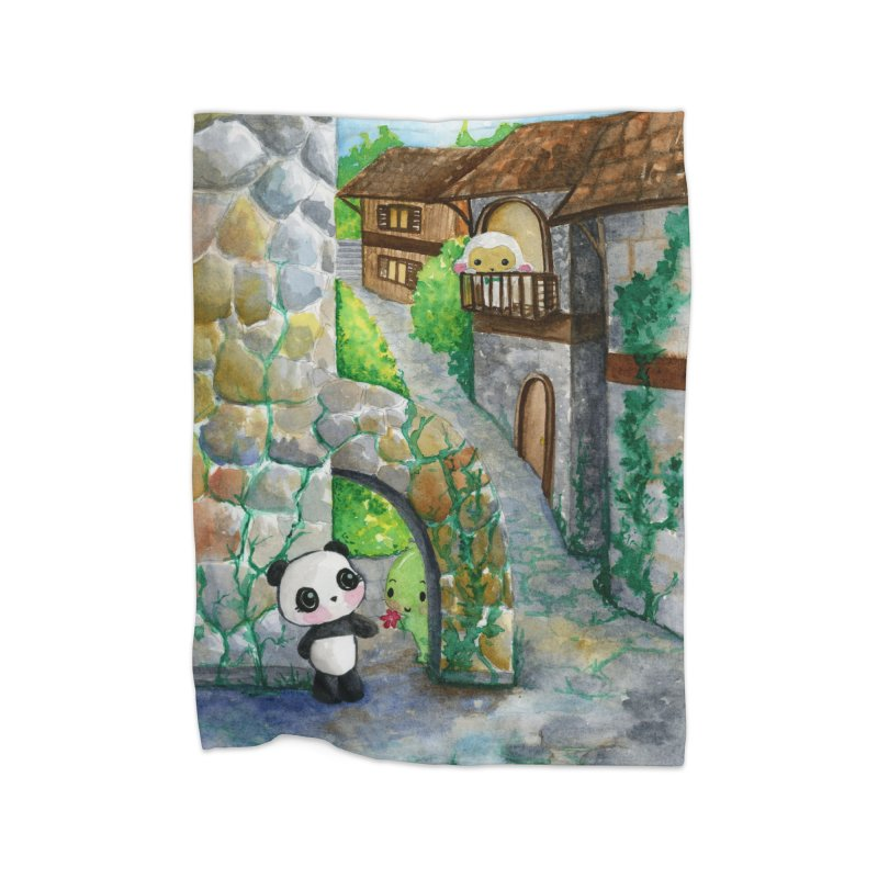 Dino and Panda's Secret Date in Fleece Blanket Blanket by Dino & Panda Inc Artist Shop